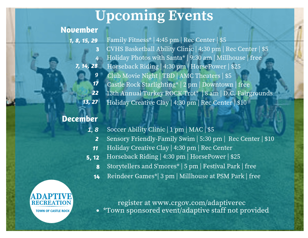Schedule of November and December events