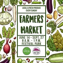 Farmers Market June 14 - Sept. 27 8 a.m. - 1 p.m. at Festival Park