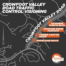 Crowfoot Valley Road map with Sapphire Pointe, Diamond Ridge, Timber Canyon, Knobcone intersections